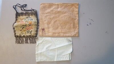 Vintage silk purse and 2  cloth women's undergarment bags.  Good cond.