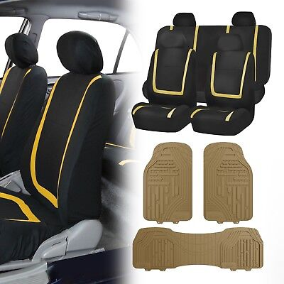 Flat Cloth Seat Covers Yellow & Black with Classic Rubber Trimmable Floor Mats