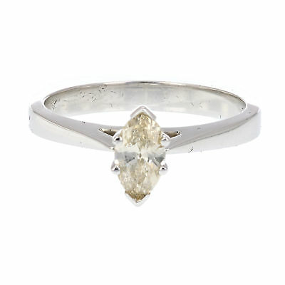 0.4 CT Champagne Diamond Solitaire Ring 14K White Gold Size 6.5