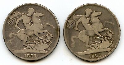 Genuine Lot of (2) Silver 1821 Great Britain Crowns | George IIII