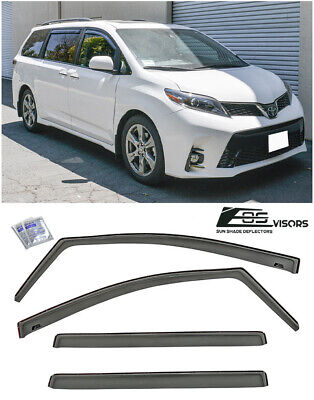 JDM IN-CHANNEL Style Side Vents Sun Shade Rain Visors For 11-Up Toyota Sienna
