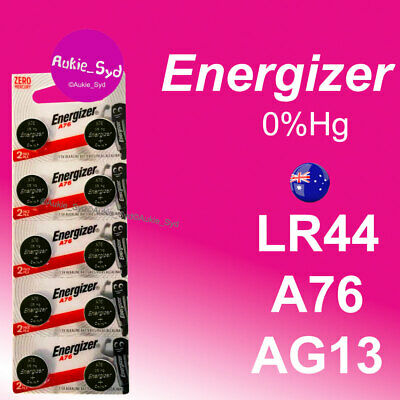 10 x Energizer LR44 1.5V Alkaline Battery Genuine Batteries A76 AG13 EXP2021