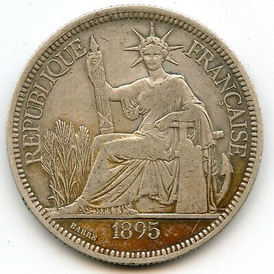 Genuine Silver 1895-A French Indo-China 1 Piastre