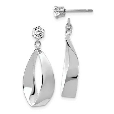 14k White Gold Polished Oval Dangle with CZ Stud Earring Jackets (1IN x 0.4IN)
