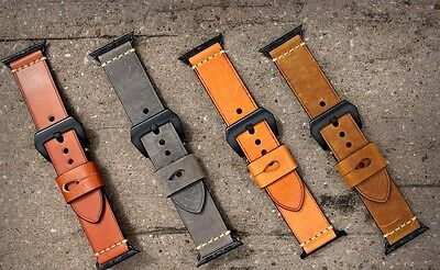 For Apple Watch Series 4 3 2 42/44mm Genuine Leather Watch Strap Band Black Fixs