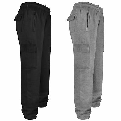 Mens Fleece Jogging Bottoms Cargo Combat Trousers Elasticated Gym Sweat Pants