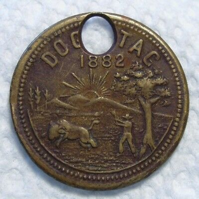 1882 Indiana Dog Tag, License. (#28). B.W. Smith & Co. Lafayette, IN - Maker.