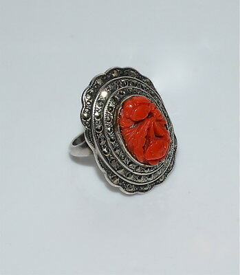 Vintage Large Natural Carved Coral and Marcasite Sterling Silver Ring Size 5-1/2