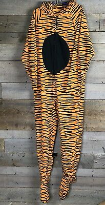 Jumpin Jammerz Unisex Tiger Fleece Adult Sized Footed Pajamas M