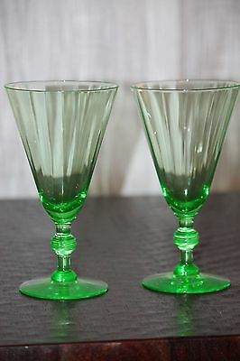 """Pair of beautiful antique green depression glass vaseline wine goblets. 6.75"""""""