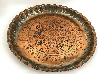 Antique Middle Eastern Syrian Tinned Copper Islamic Plate Platter or Tray