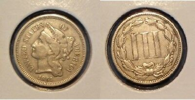Lot of 6 Three Cent Nickels 1865, 1867, 1868, 1869