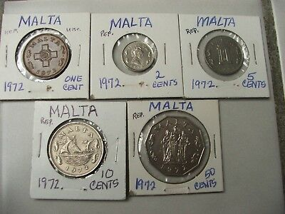 (5) MALTA 1972 1,2,5,10,50 Cents Includes Barge of Grandmaster & Siege monument