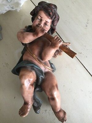 Large Antique Italian Resin Hand Painted Putto Cherub / Flute Wall Figurine