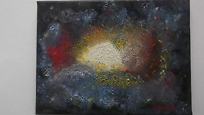 Original oil on canvas Galaxy/space painting 9 X 12 signed by artist V. Anstey