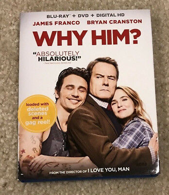 WHY HIM? (Blu-ray + DVD, 2017, 2-Disc Set) ONLY VIEWED ONCE!! NO DIGITAL NO UV!!