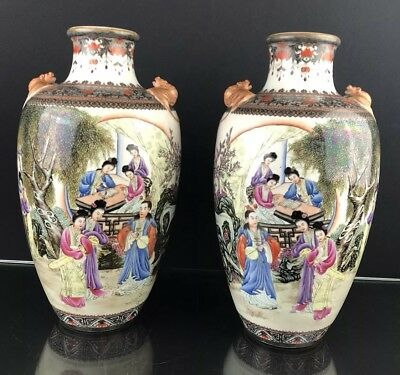 Lovely Pair of Antique Republic Period Vases With Very Fine Details Large Size