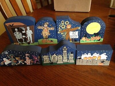 The Cat's Meow Halloween Release Wooden Display Lot of 7