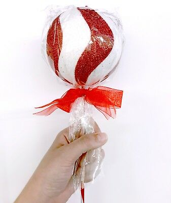 Red & White Cake Pop Lollipop Pick Christmas Tree Ornament Ball