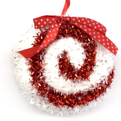 Sparkly Red White Peppermint Candy Christmas Ornament Candies Spiral