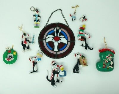 Looney Toons Sylvester Lot of 11 Hallmark Christmass Ornament Staind Glass Pin