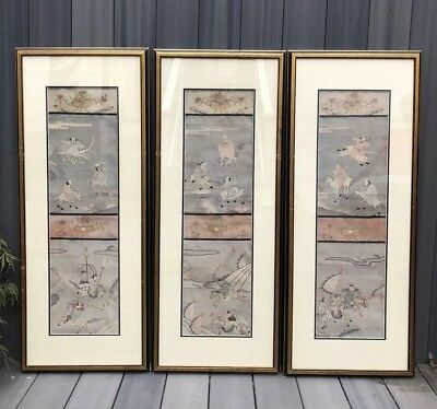 Very Fine Set of 3 Antique Chinese Silk Kesi Kossu Panels with Warriors NR