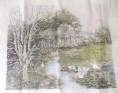 Vintage Tiny Amt Worked Lg Tramme Tapestry Canvas Geese Ducks At Stream No Yarn