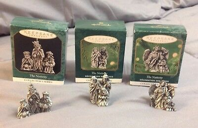 Hallmark Pewter Miniature The Nativity Collectors Series Ornaments Lot Of 3