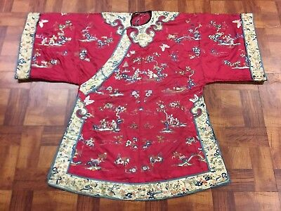 Very Fine Antique Chinese Silk Red Robe with Details of Figures and Flowers Qing