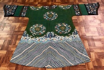 Superb Antique Chinese Green Silk Robe with Gold Embroidered Roundels NO RESERVE