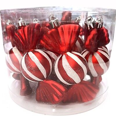 PEPPERMINT LANE   12 Red & White Candy Christmas Ornament Candies Wrapped Fake