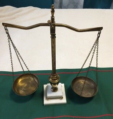 Vintage Balance Scales of Justice Lawyer Scale Brass with marble base needs TLC