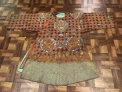 Outstanding Antique Chinese Brown Embroidered Dragon Robe Fine Details NR