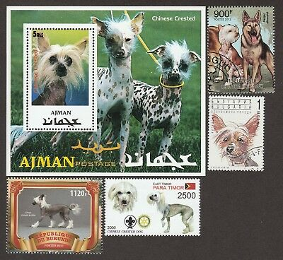 CHINESE CRESTED **Int'l Dog Postage Stamp Collection** Unique Gift Idea**