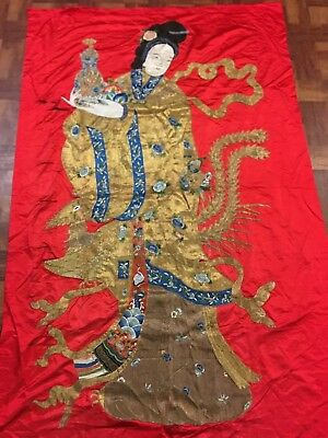 Very Fine Antique Chinese Silk Panel of Immortal Kwan Yin Gold Embroidered NR