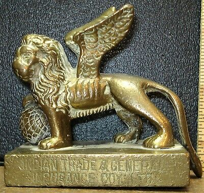 Brass Lion of St. Mark Paperweight from India Trade & General Insurance Co. Ltd.