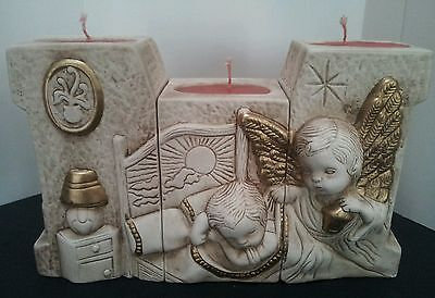 Vintage 3-Piece Candle Set of a Guardian Angel Watching Over a Sleeping Child