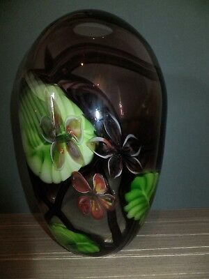 Art Glass Vase Large Purple with Flowers and Leaves Design