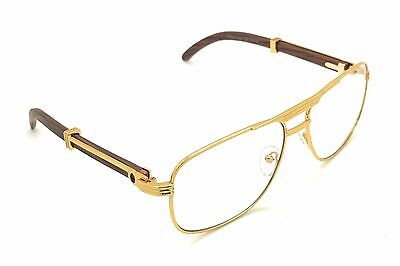 Dark Gold Retro Wood Buffs Vintage Style 90s Gangster yellow Oval Eye Glasses,