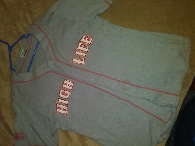 MILLER HIGH LIFE! Baseball JERSEY/sweater Size Large! Grey! Great quality!