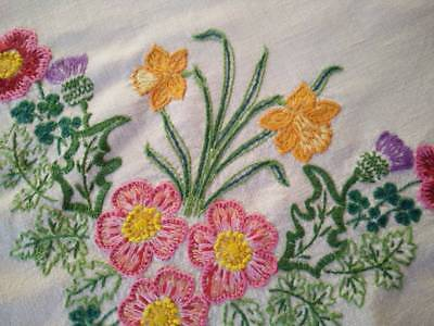 Gorgeous Rose/Daffodil/Clover/Thistle ~ Vintage Hand Embroidered Tablecloth