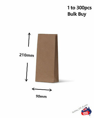 1 to 300pcs SMALL KRAFT BROWN PAPER BAGS FLAT BOTTOM LOLLY TREAT GIFT PARTY BULK