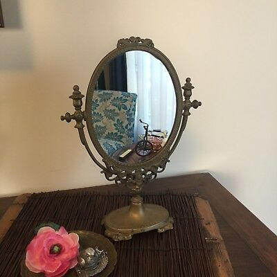 Vintage Brass Mirror on Stand - tilts
