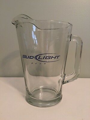 Bud Light Large Clear Glass Beer Pitcher 48 oz. Advertising Barware, DrinkWare