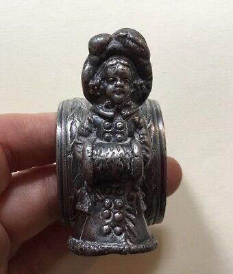 Authentic Antique Victorian Kate Greenaway Figural Napkin Ring-Girl W. Muff