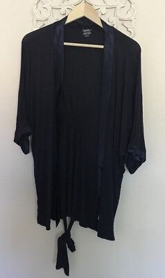 Bump In The Night Womens Blue Robe Open Front Nursing Tie Closure Long Sleeve M
