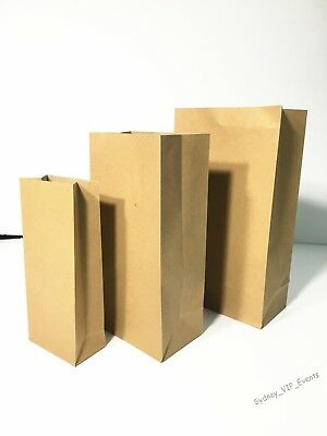 Small Medium Large Brown Paper Kraft Flat Bottom Bag Lolly Gift Wedding Favour
