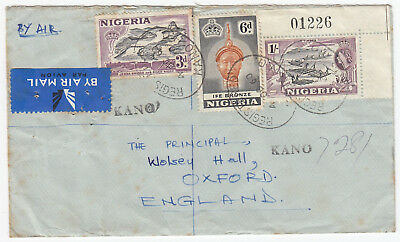 M9094 Nigeria registered air cover to UK, 1960; 1sh 9d rate, 3 stamps; Kano