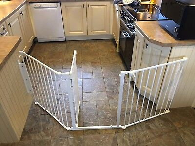 Used Babydan White Metal Large Flexi Fit Hearth/configure Gate Covers 90 - 223Cm