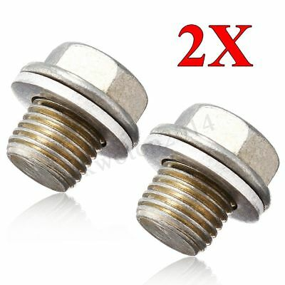 2x Engine Oil Pan Drain Bolt Plug w/ Washer For Honda/Acura/Accord #90009R70A00